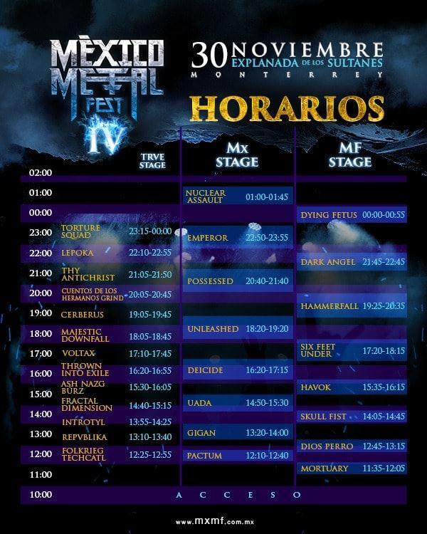 horarios del mexico metal fest 2019