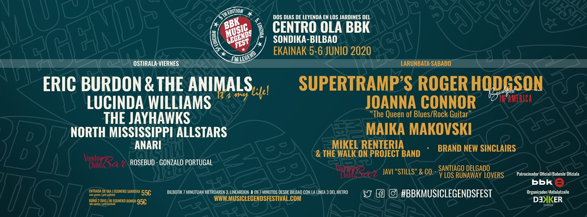 BBK Music Legends Festival 2020 cartel completo