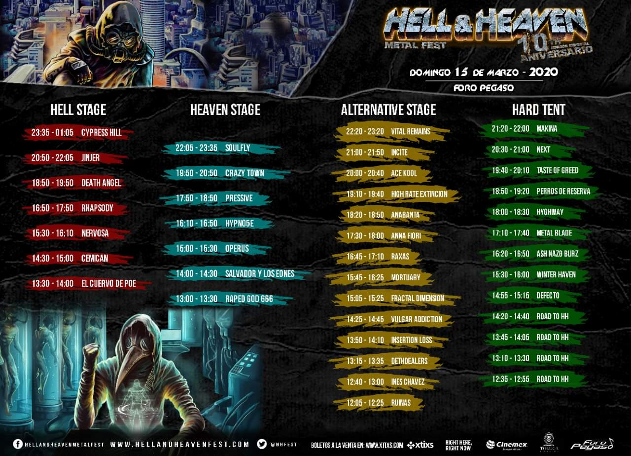 Horarios domingo Hell and Heaven Fest 2020