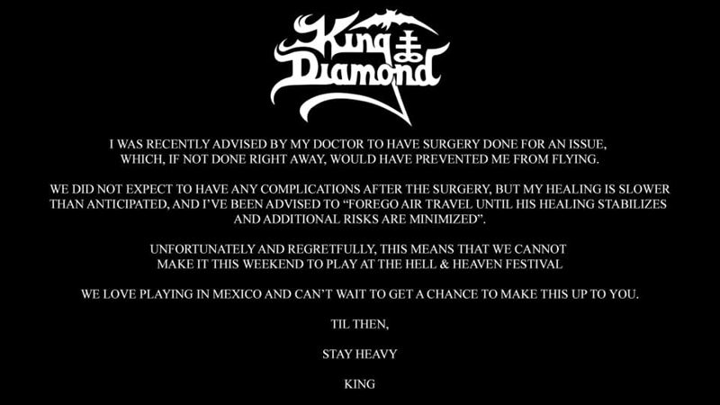 king diamond hell and heaven fest 2020 cancelado